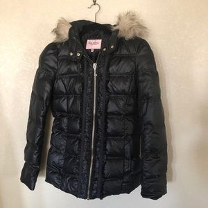 Juicy Couture ruffle front fur trim puffer size XS